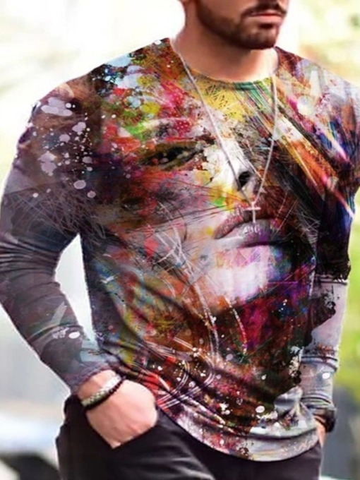 Regular Print Casual Round Neck Pullover Men's T-shirt