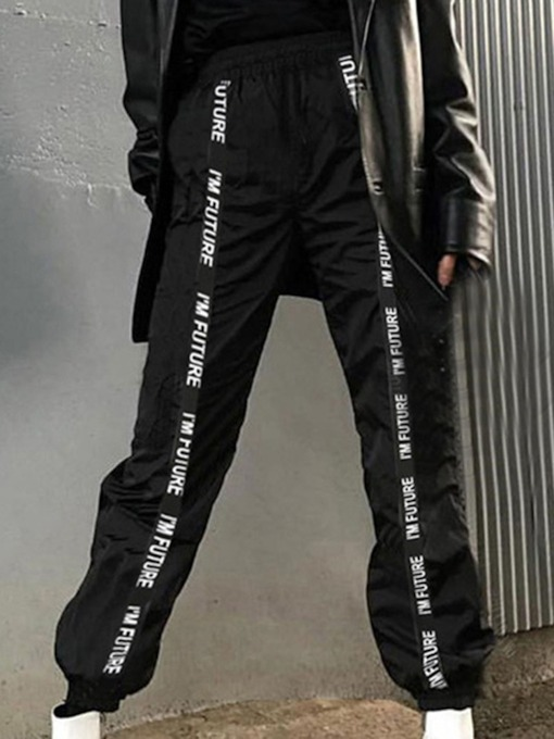 Pleated Letter Loose Full Length Women's Casual Pants