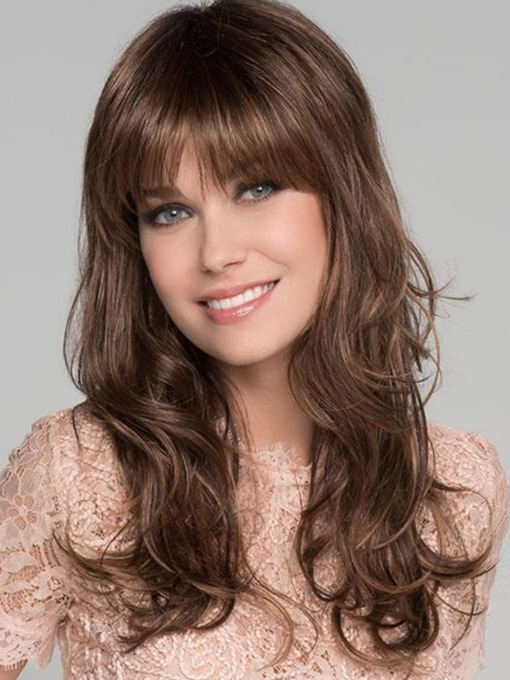 Women's Long Layered Wavy Human Hair Wigs With Bangs Capless 120% 22 Inches Wigs