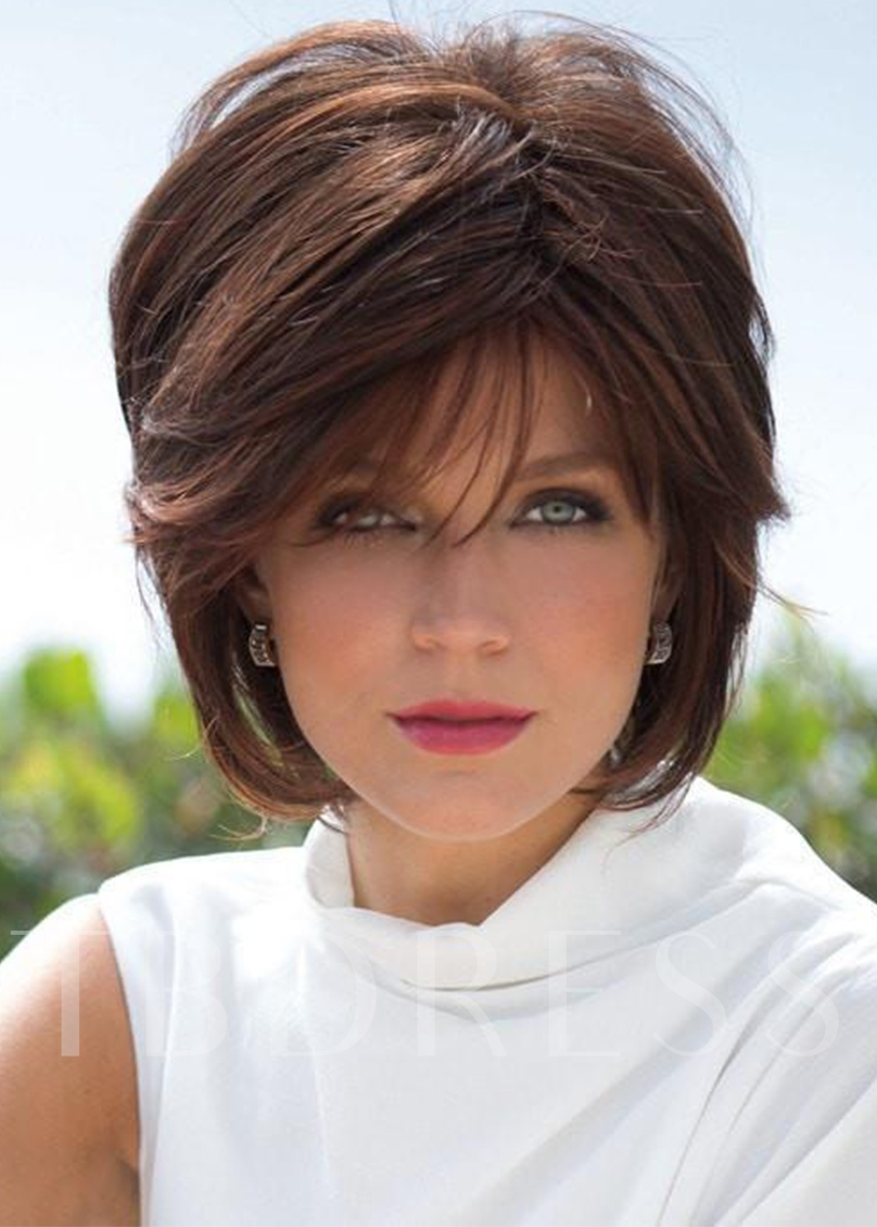 Women's Short Shaggy Hairstyles Straight Human Hair Wigs With Bangs Capless 10 Inches 120% Wigs