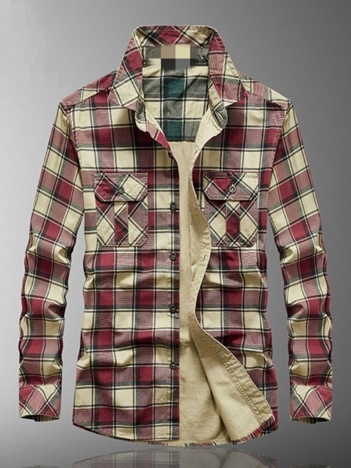 Plaid Pocket Casual Lapel Single-Breasted Men's Shirt