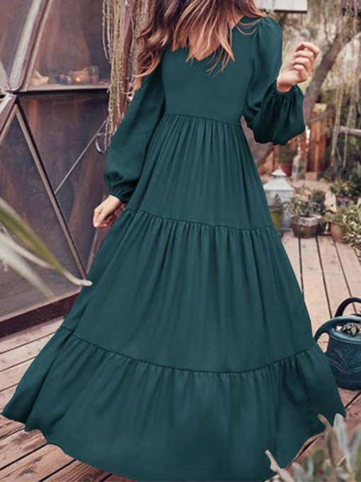 Floor-Length V-Neck Long Sleeve Pullover Women's Dress