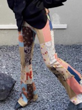 Loose Floral Patchwork Full Length Women's Casual Pants