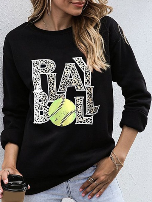 Letter Printed Regular Round Neck Women's Sweatshirt