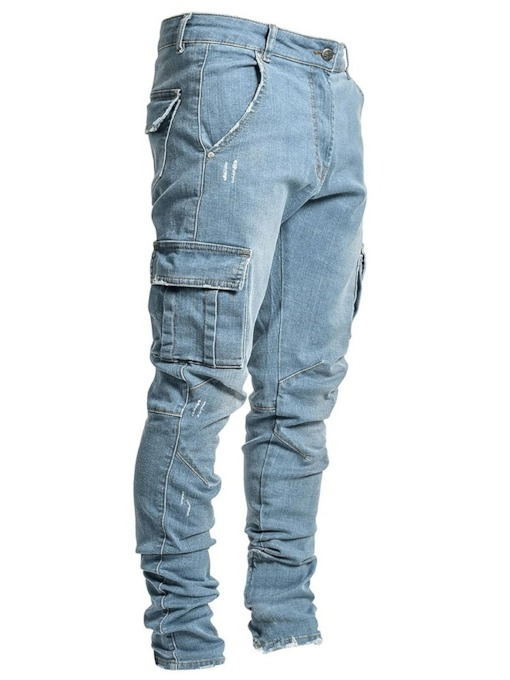Plain Pencil Pants Pocket Casual Men's Jeans