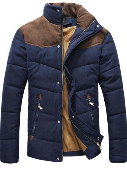 Standard Patchwork Stand Collar Color Block Casual Men's Down Jacket
