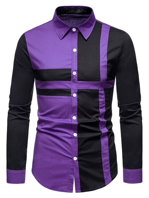Lapel Patchwork Color Block Casual Single-Breasted Men's Shirt