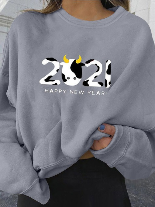 Number Print Regular Long Sleeve Women's Sweatshirt