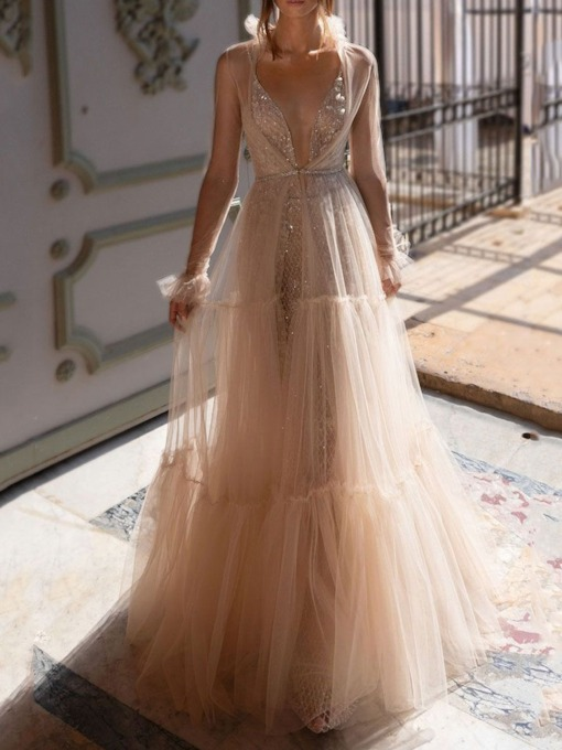 Long Sleeve See-Through Floor-Length Spring Women's Dress