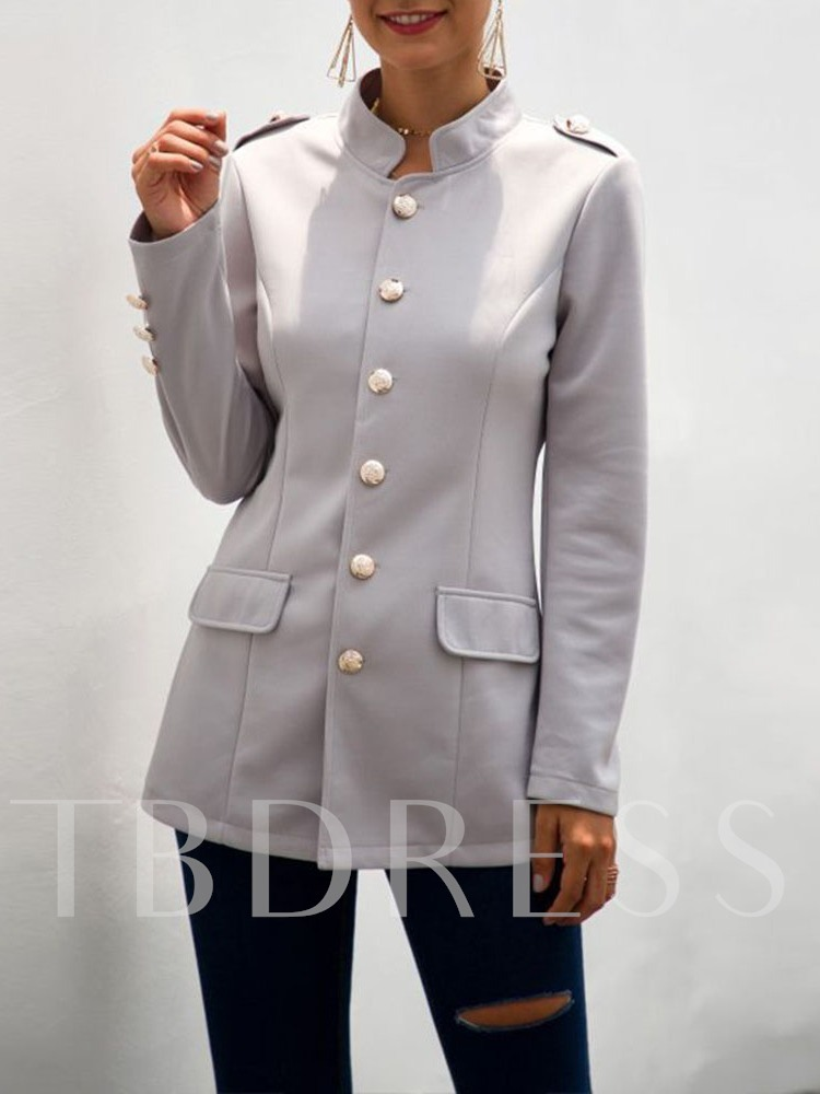 Stand Collar Single-Breasted Plain Long Sleeve Fall Women's Casual Blazer