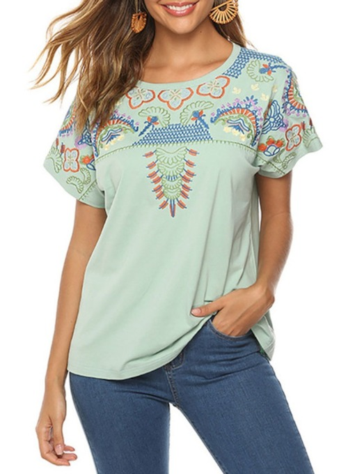 Short Sleeve Round Neck Standard Floral Loose Women's T-Shirt