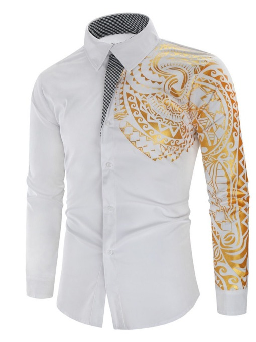 Floral Lapel Casual Slim Print Single-Breasted Men's Shirt