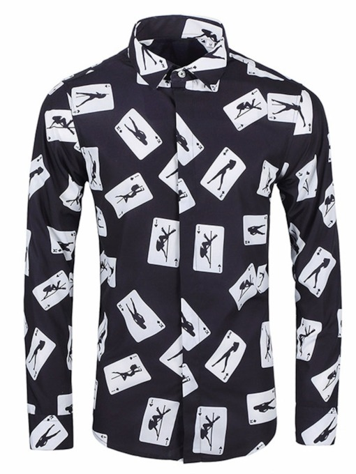 Standard Print Casual Lapel Single-Breasted Men's Shirt