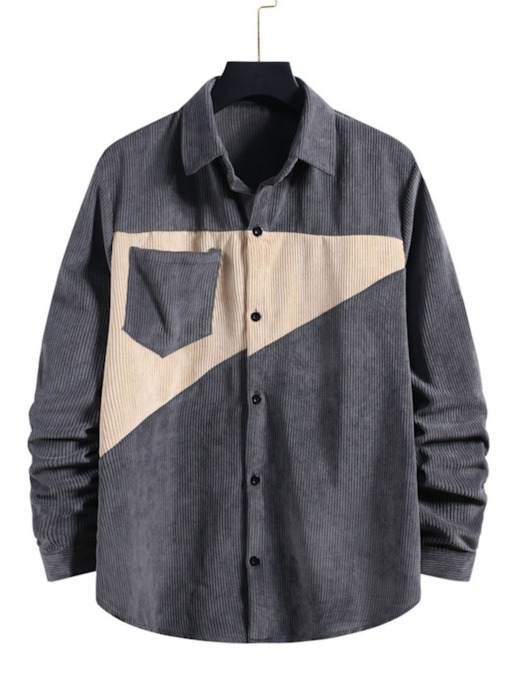 Casual Patchwork Color Block Lapel Single-Breasted Men's Shirt