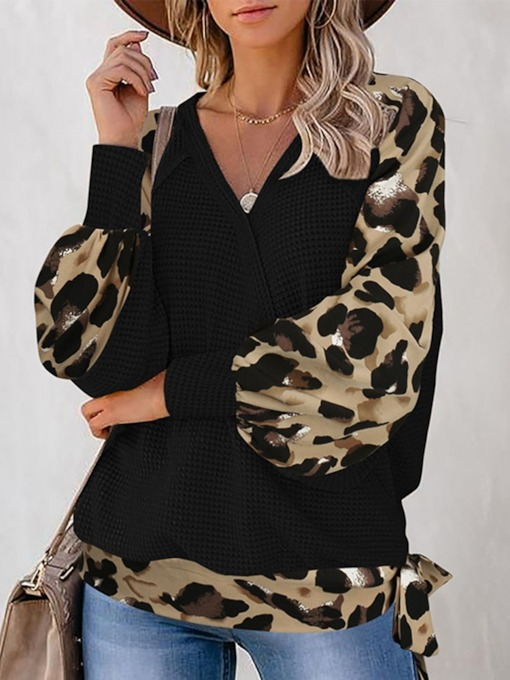 Regular Leopard Lace-Up V-Neck Women's Hoodie