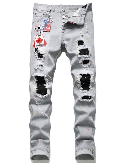 Hole Pencil Pants Button Men's Jeans