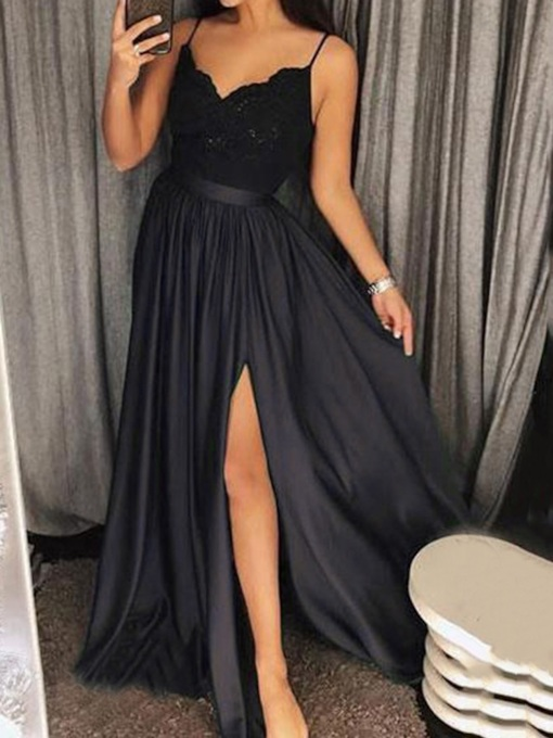 V-Neck Sleeveless Split Floor-Length Sweet Women's Dress