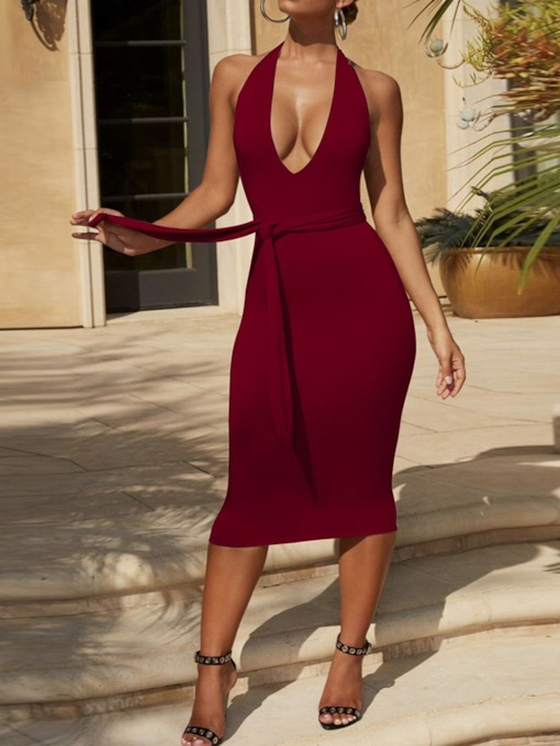 Backless Mid-Calf Sleeveless Bodycon Women's Dress