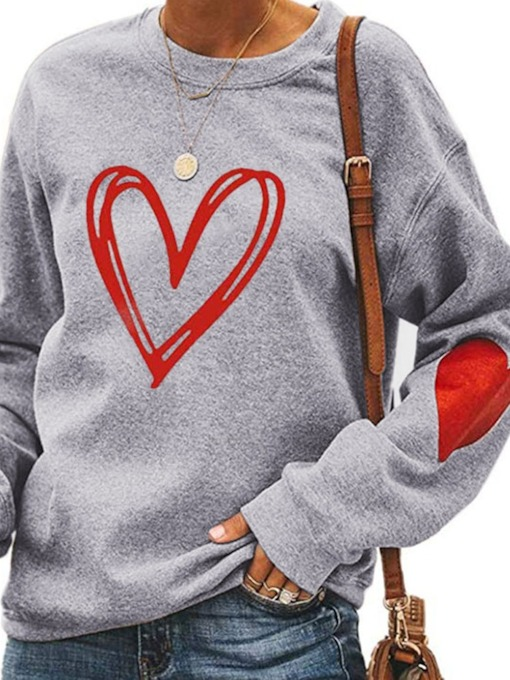 Regular Print Heart Shaped Standard Women's Hoodie