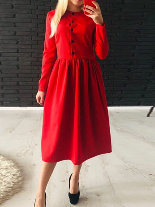 Round Neck Button Mid-Calf Long Sleeve Pullover Women's Dress