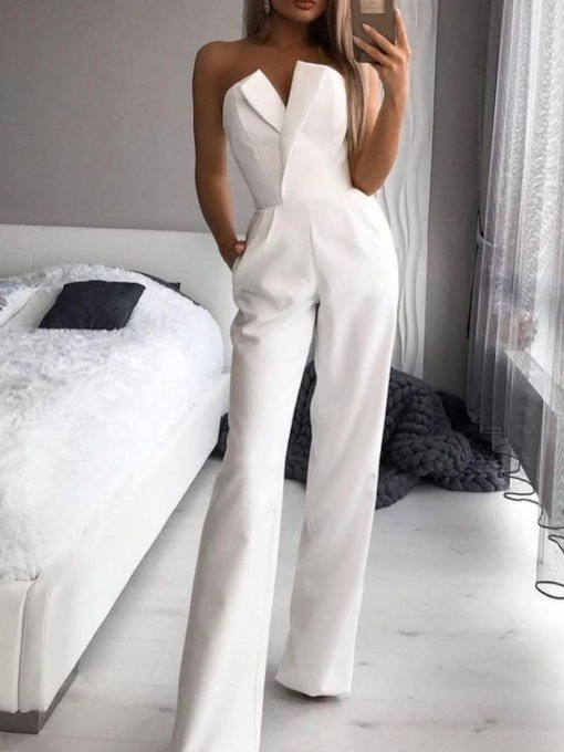 Office Lady Plain Full Length Fashion Slim Women's Jumpsuit