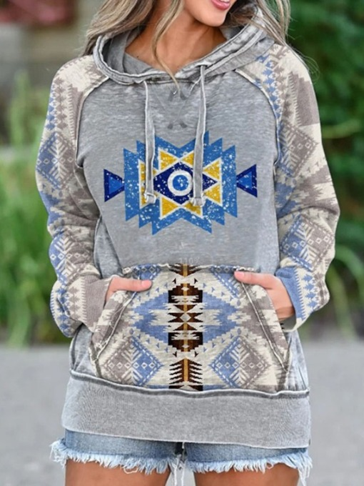 Geometric Raglan Sleeve Patchwork Hooded Women's Hoodie