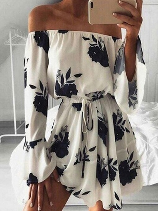 Long Sleeve Print Above Knee Off Shoulder Sweet Women's Dress