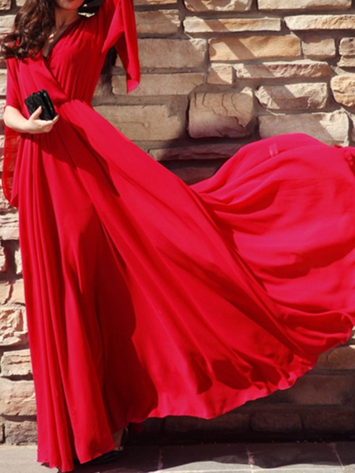 Long Sleeve Floor-Length V-Neck Fashion Women's Dress