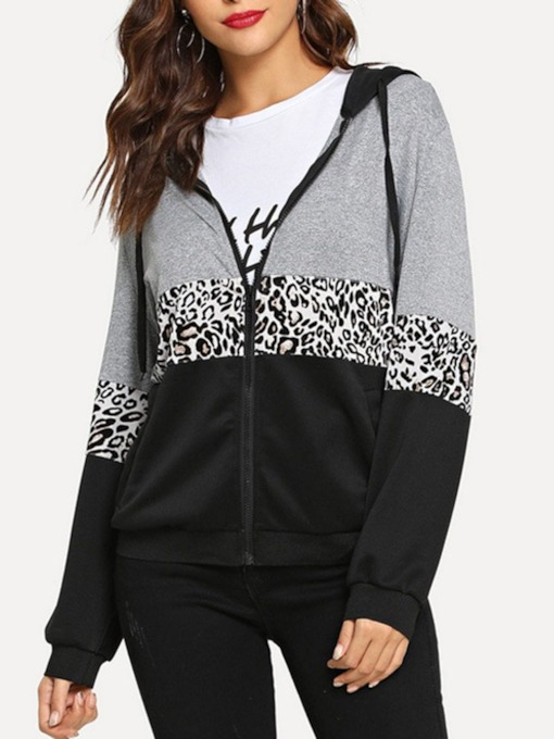 Zipper Zipper Leopard Regular Standard Women's Hoodie