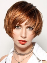 Women's Short Bob Straight Human Hair Capless Wigs With Bangs 10 Inches 120% Wigs