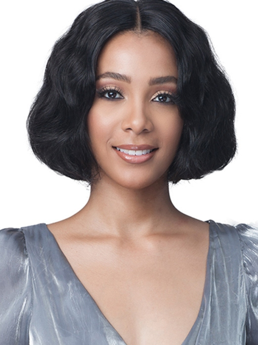 Women's Short Bob Hairstyles Wavy Human Hair Wigs Middle Part Lace Front Cap 12 Inches 120% Wigs