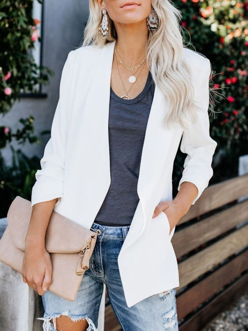 Notched Lapel Plain Long Sleeve Standard Women's Casual Blazer