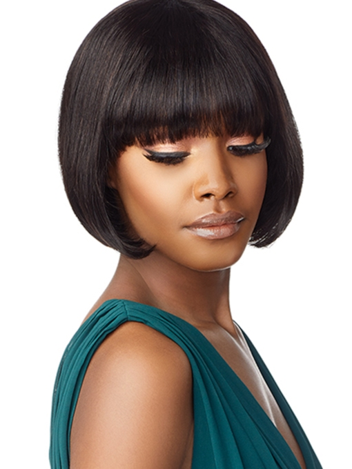 Short Bob Hairstyle Women's Straight Human Hair Capless Wigs With Bangs 10 Inches 120% Wigs