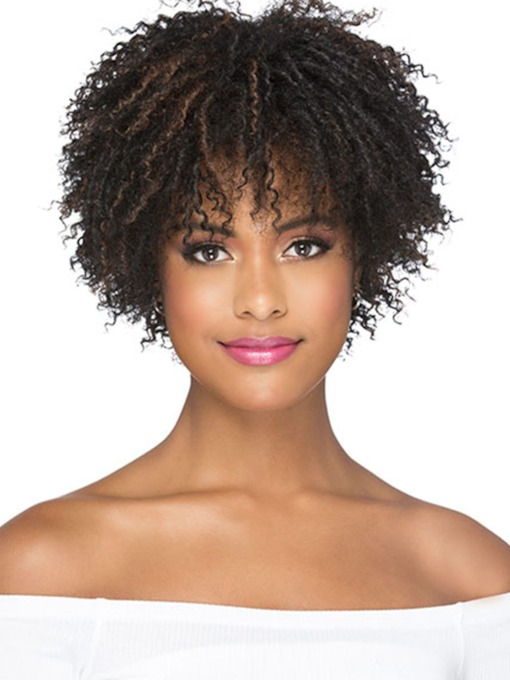 Short Afro Curly Hairstyle Women's Kinky Culry Synthetic Hair Capless 12 Inches 120% Wigs