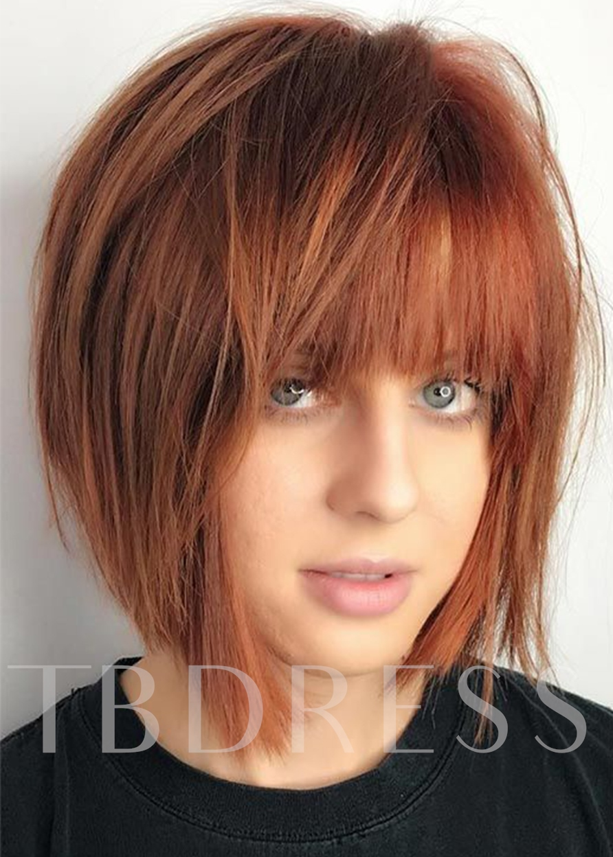 Women's Short Bob Straight Synthetic Hair Capless Wigs With Bangs 120% 14 Inches Wigs