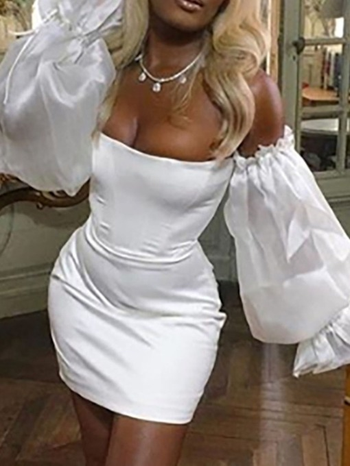 Above Knee Long Sleeve Off Shoulder Mesh Bodycon Women's Dress