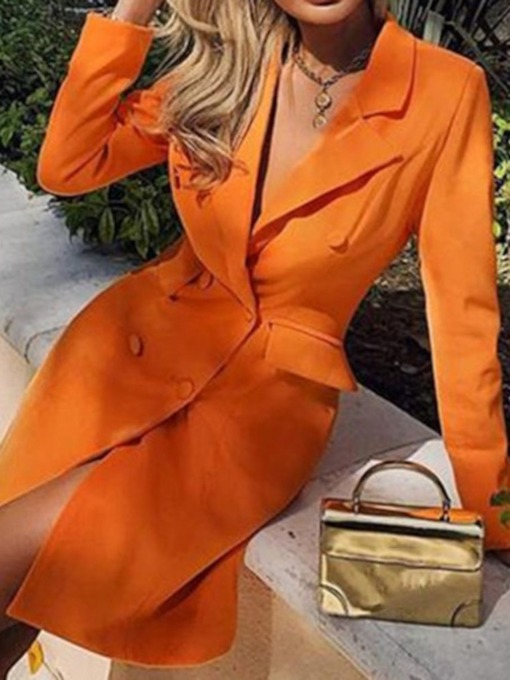 Above Knee Button Notched Lapel Long Sleeve Summer Women's Dress