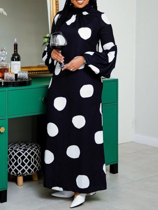 Print Turtleneck Long Sleeve Floor-Length Polka Dots Women's Dress