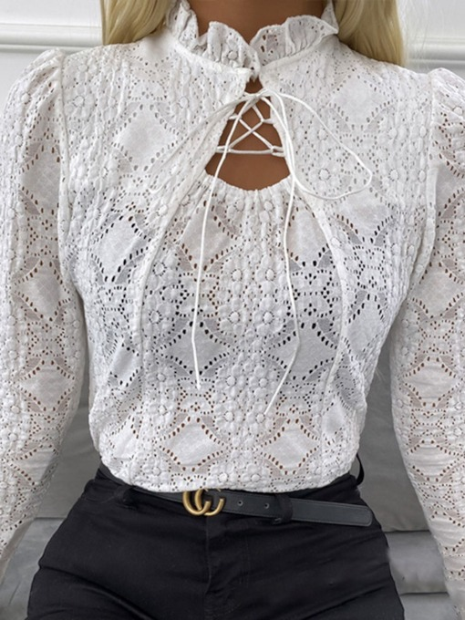 Stand Collar Lace-Up Plain See-Through Women's Blouse