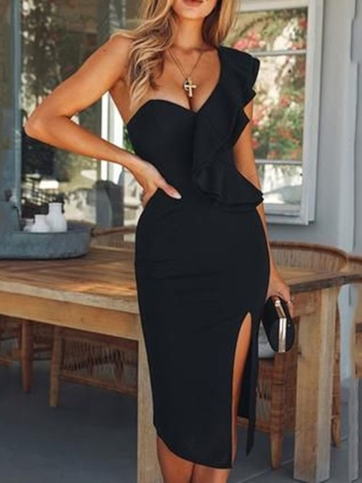 Backless Mid-Calf Cap Sleeve Oblique Collar One-Shoulder Women's Dress