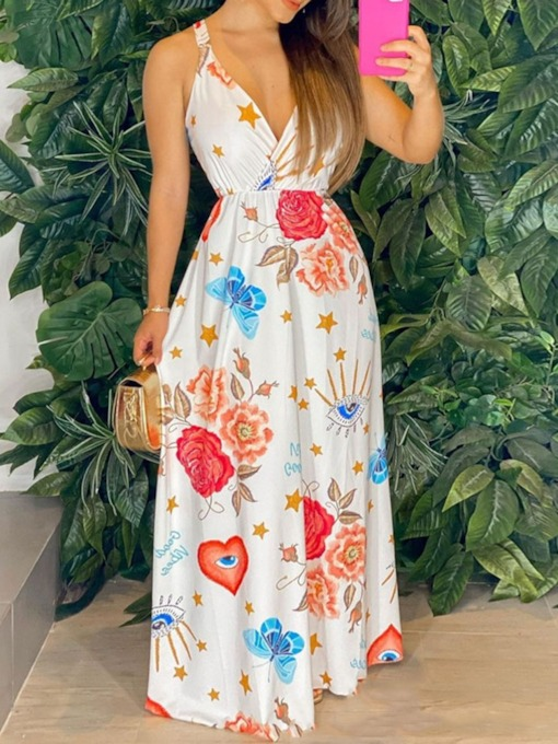 V-Neck Sleeveless Floor-Length Print A-Line Women's Dress
