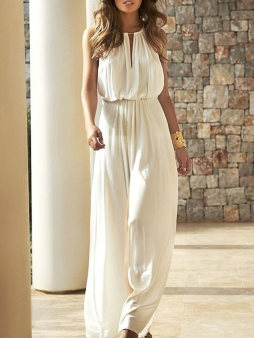 High Waist Western Full Length Plain Patchwork Women's Jumpsuit