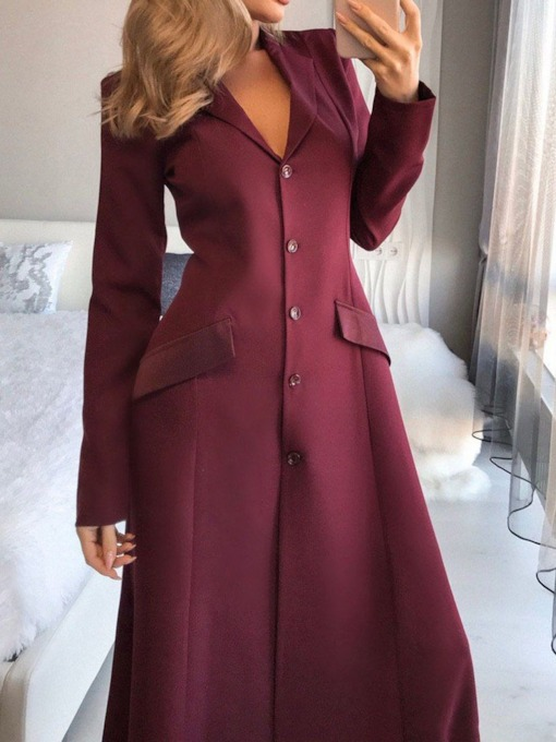 Button Long Sleeve Floor-Length Plain Women's Dress