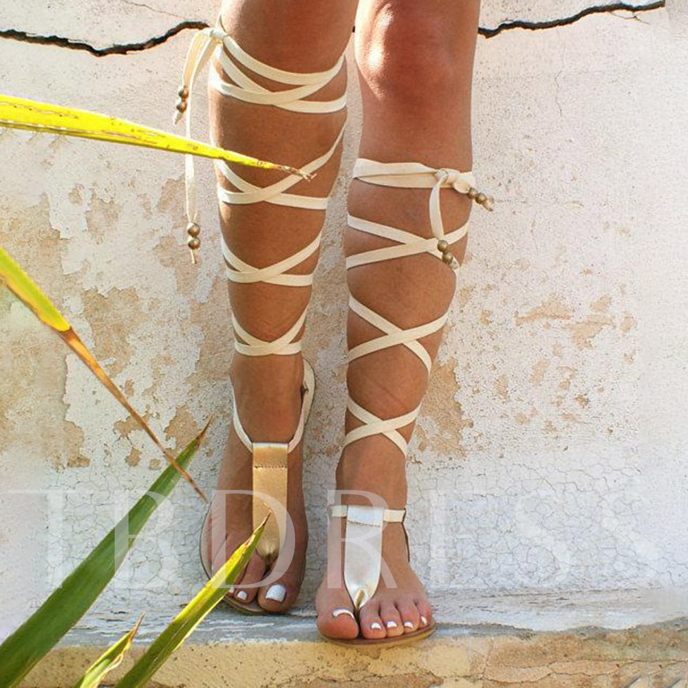 Flat With Lace-Up Thong Cross Strap Sandals