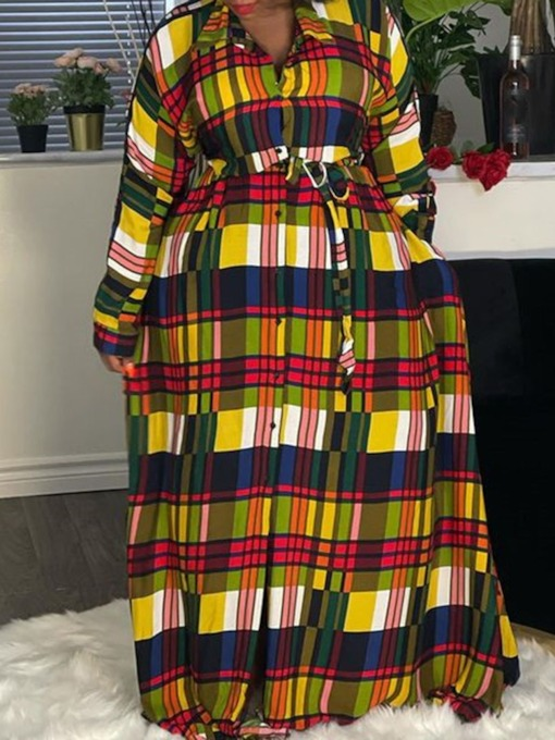Print Lapel Floor-Length Long Sleeve Plaid Women's Dress