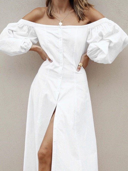 Mid-Calf Button Three-Quarter Sleeve Off Shoulder Single-Breasted Women's Dress