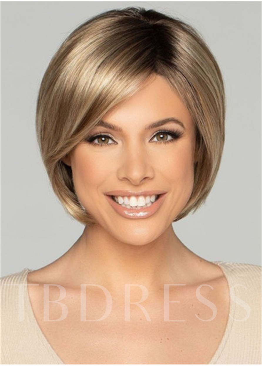 Women's Short Bob Hair Cut Natural Straight Synthetic Hair 120% 12 Inches Wigs