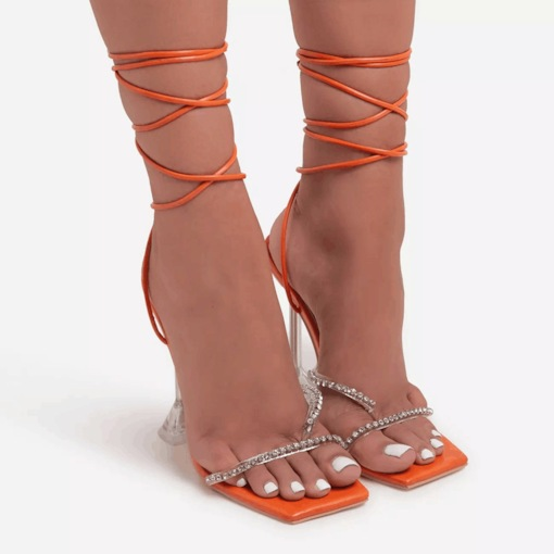 Lace-Up Open Toe Spool Heel Simple Sandals