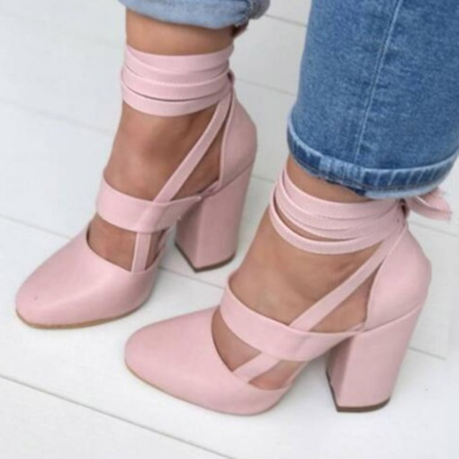 Lace-Up Round Toe Chunky Heel Cross Strap High Heel (5-8cm) Thin Shoes