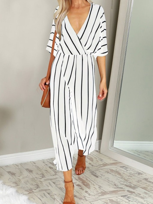 Ankle Length Patchwork Stripe Fashion Wide Legs Women's Jumpsuit